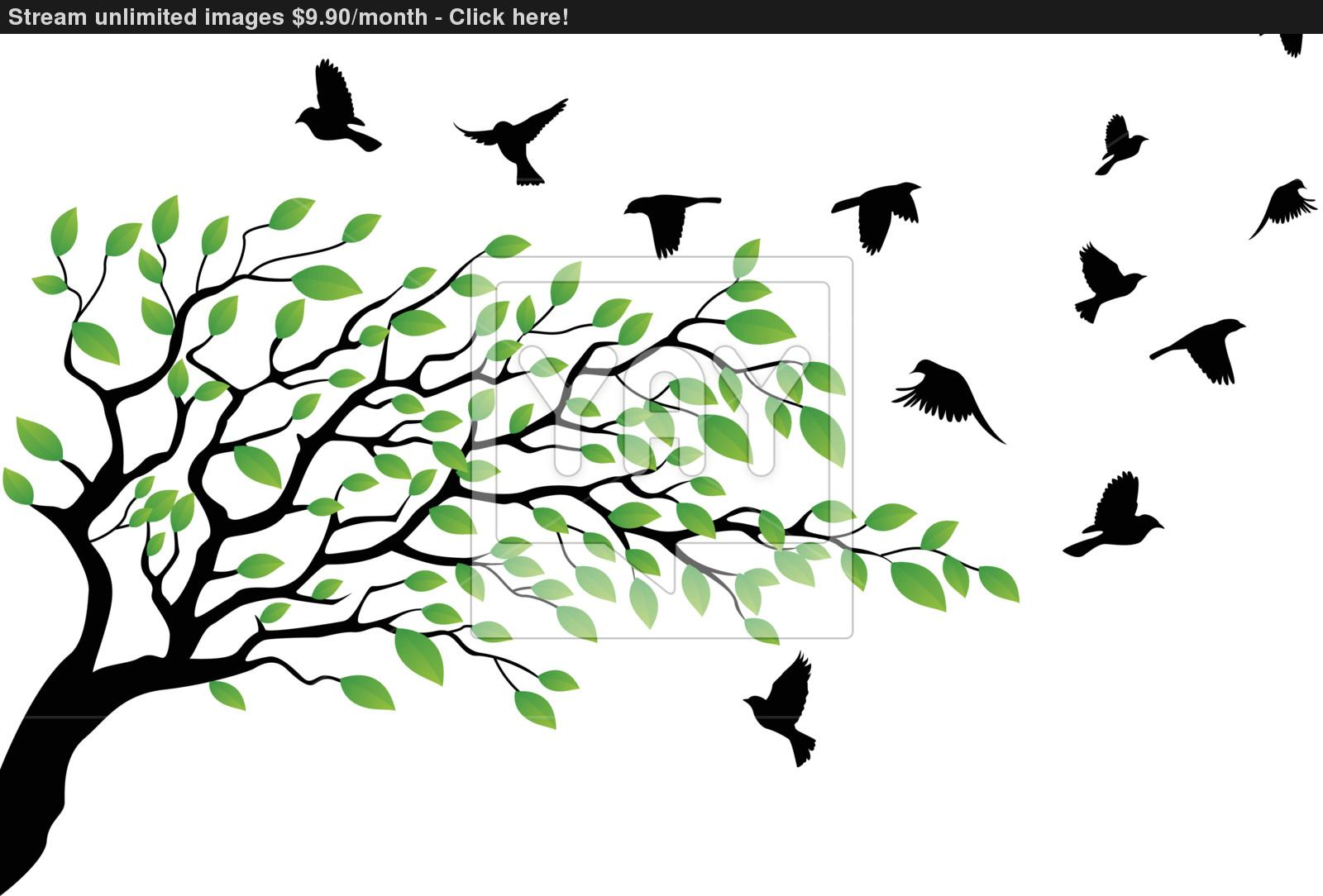 1600x1084 Tree Silhouette With Bird Flying Vector