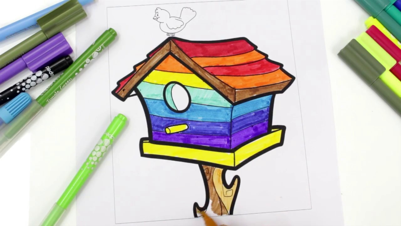 1280x720 Coloring Rainbow Bird House, Coloring Pages For Kids, Birds House