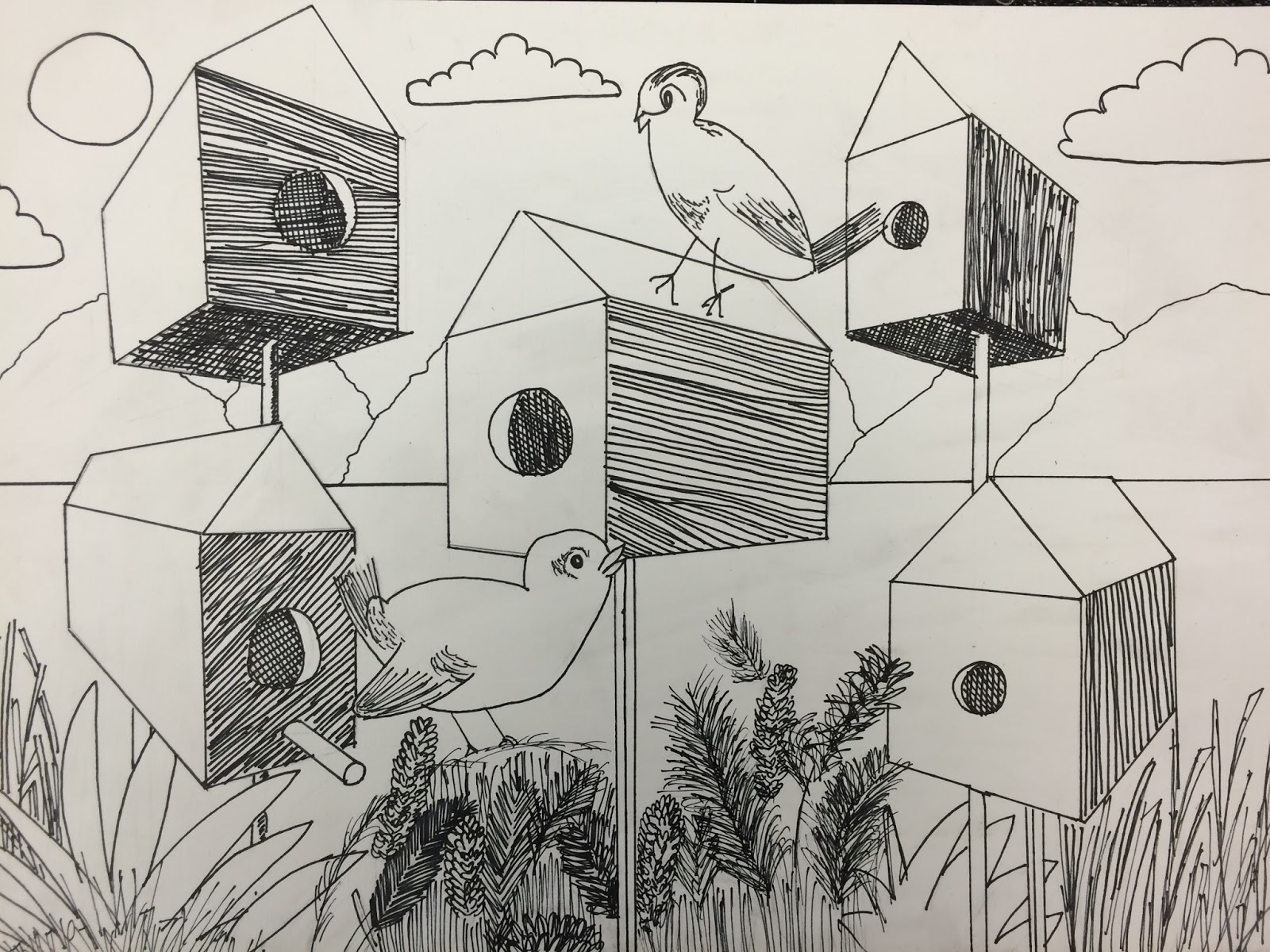 1600x1200 Mrs. Wille's Art Room Bird Houses In 2 Point Perspective