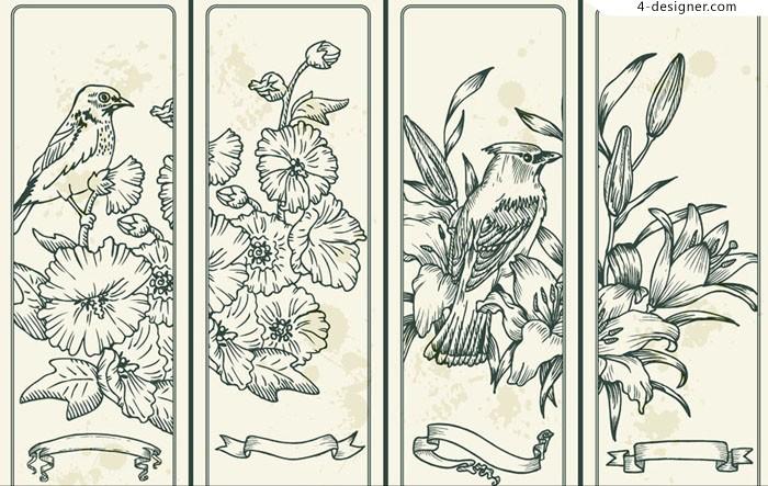 700x443 4 Designer Line Drawing Flowers And Birds Illustration Design