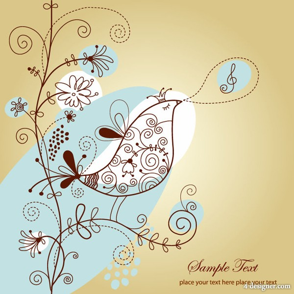 600x600 4 Designer Line Drawing Of Flowers And Birds Vector Material