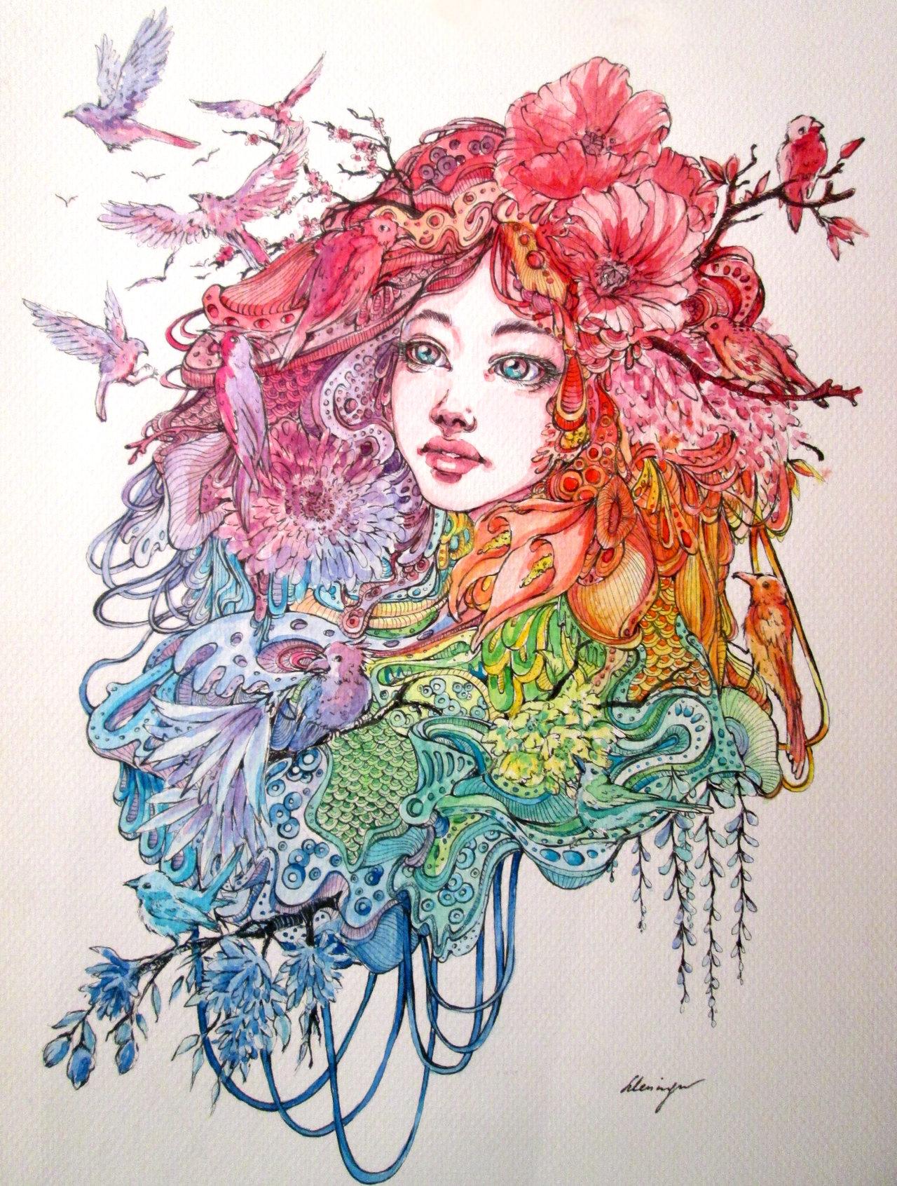 1280x1692 Birds And Flowers By Doringota