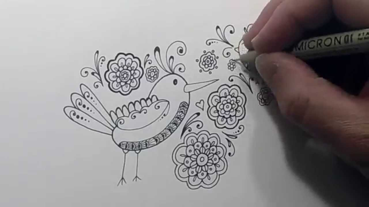 1280x720 Doodle Birds And Flowers Drawing Time Lapse