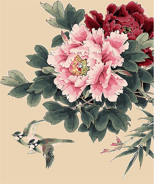 536x640 Pigeon And Peony Room Decor Painting Birds And Flower Oil Painting
