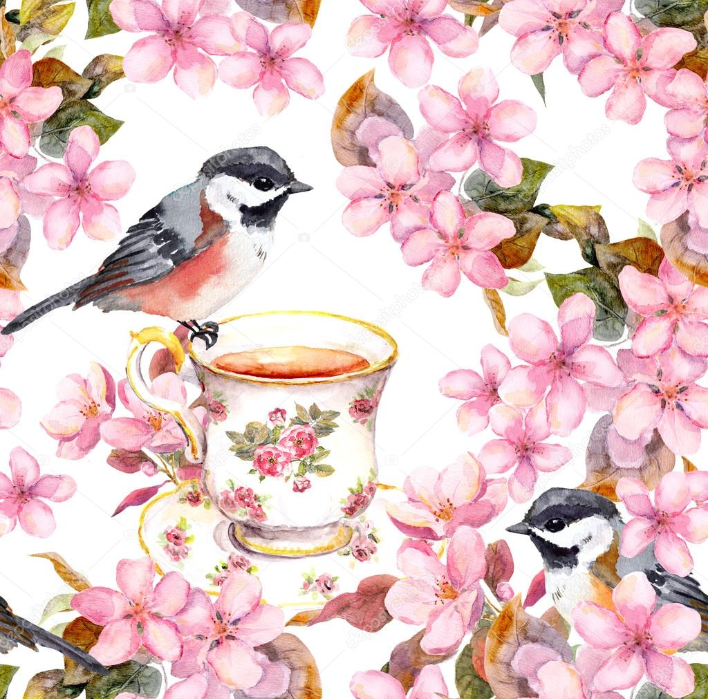 1024x1011 Tea Cup, Birds And Flowers. Seamless Floral Pattern. Aquarelle