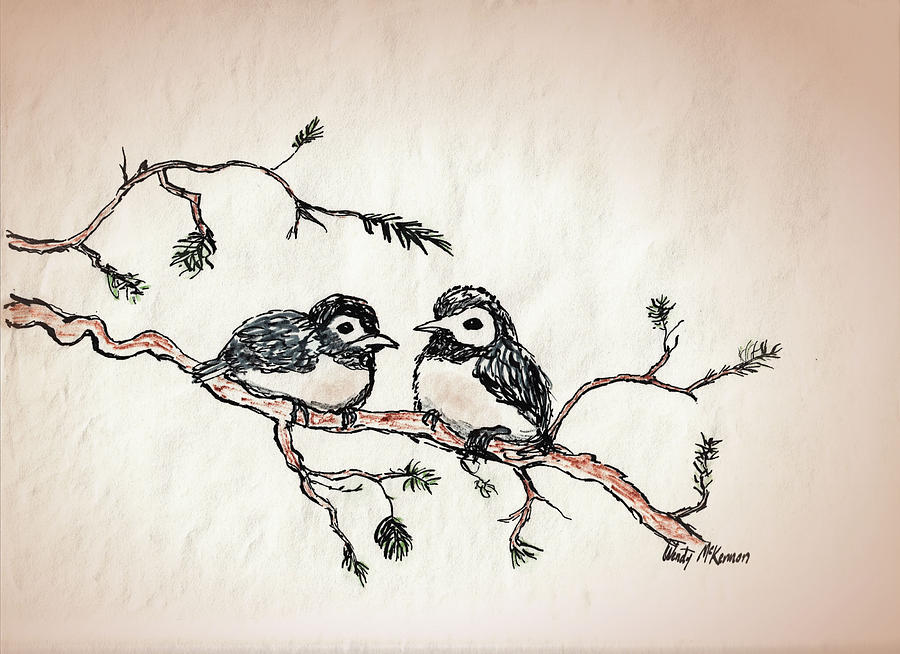 900x654 Two Birds Drawing By Wendy Mckennon