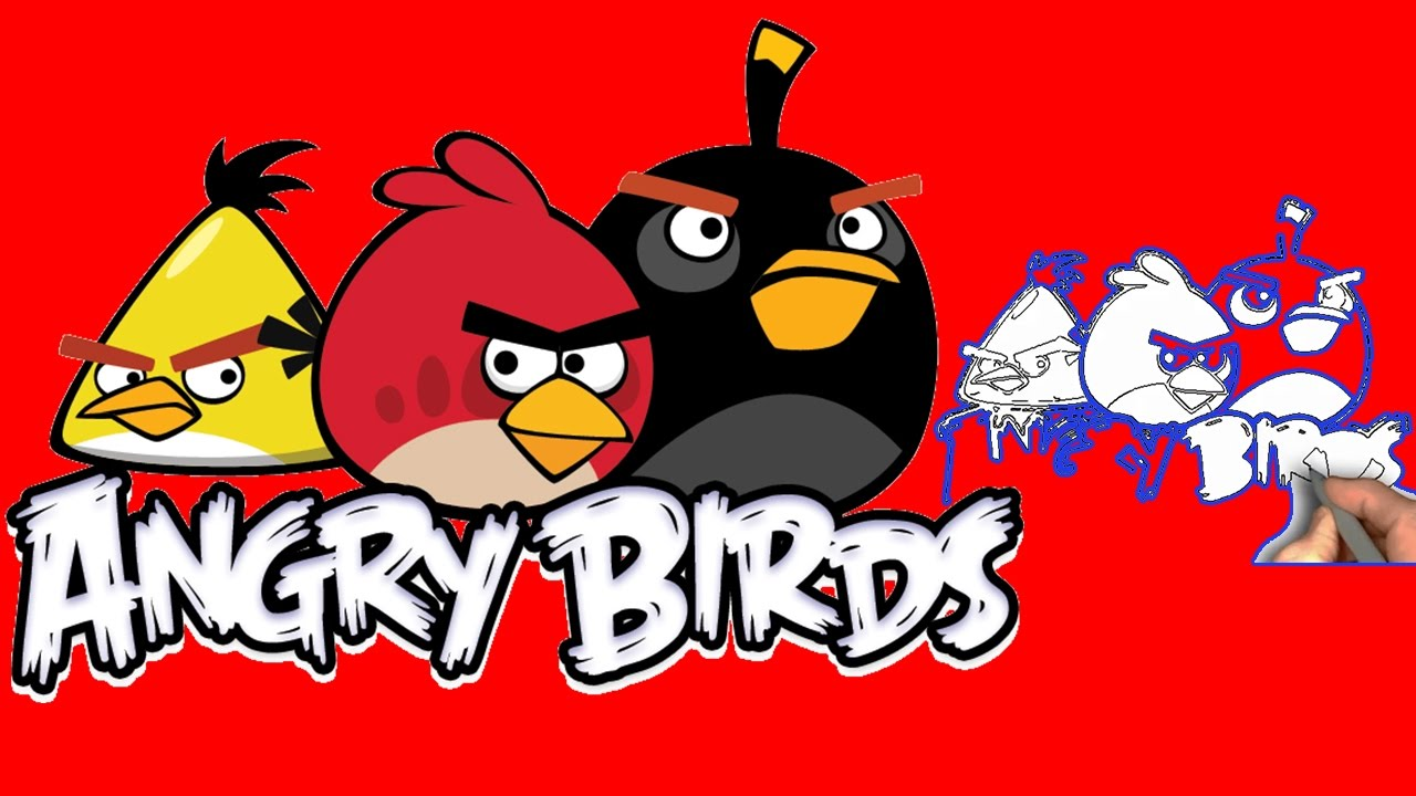 1280x720 Amazing Angry Birds Drawing For Kids, Learning Draw Picture