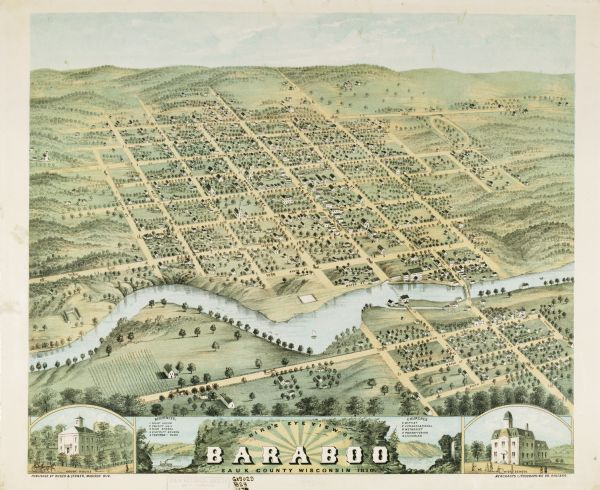 600x490 Bird's Eye View Of Baraboo In Sauk County, Wisconsin Map