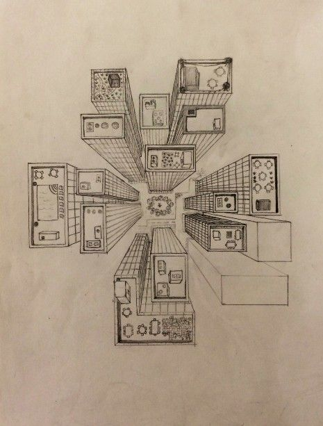 465x613 Bird's Eye View Drawing City Perspective Perspective