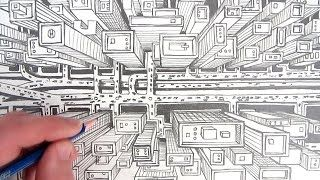 320x180 How To Draw A City Using One Point Perspective A Bird's Eye View