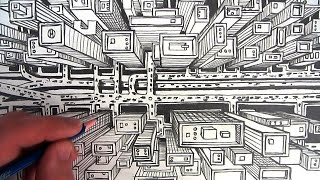 320x180 How To Draw A City Using One Point Perspective A Birds Eye View