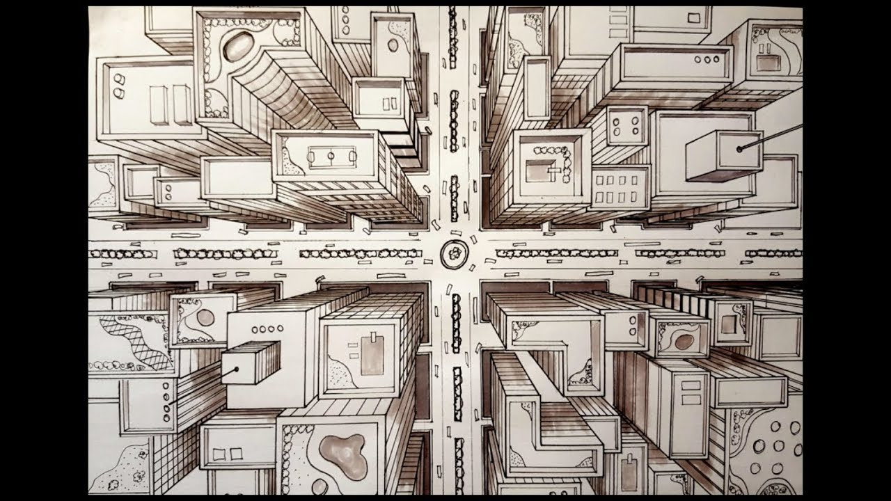 1280x720 Drawing A City Using 1 Point Perspective Bird's Eye View Time