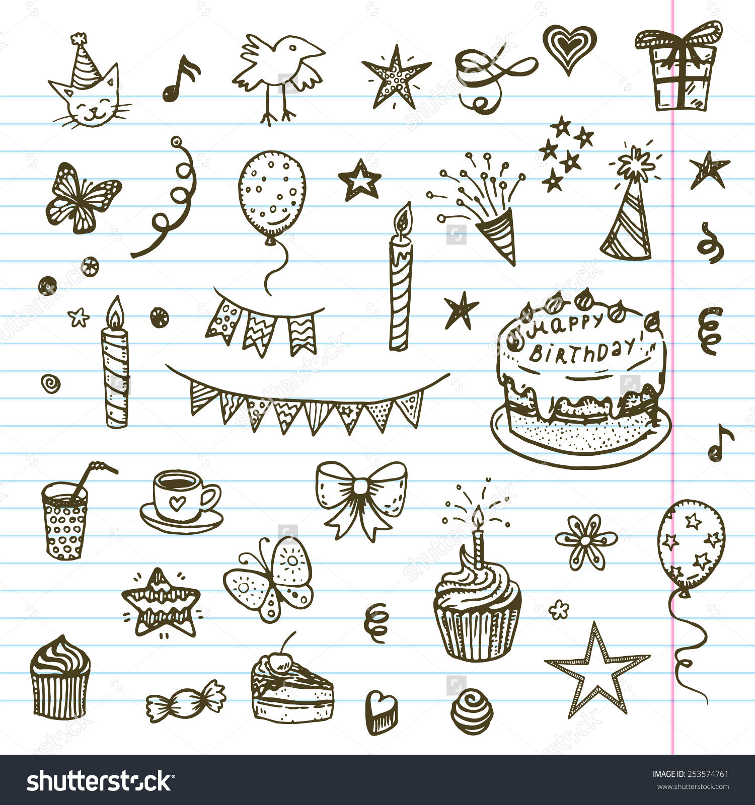 1500x1600 Birthday Elements Hand Drawn Set With Cake Balloons