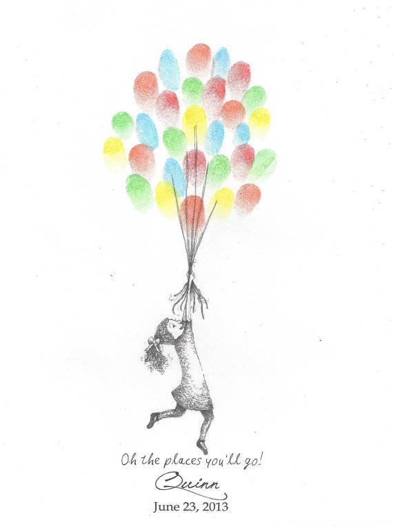 570x764 Girl Being Lifted By Balloons Finger Print Guest Book
