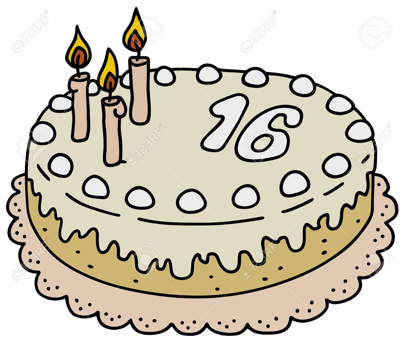 1300x1104 Hand Drawing Of A Birthday Cake Royalty Free Cliparts, Vectors