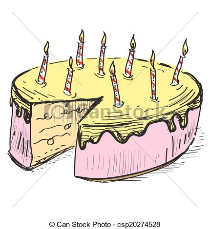 430x470 Birthday Cake With Candles. Hand Drawing Cartoon Sketch Vector