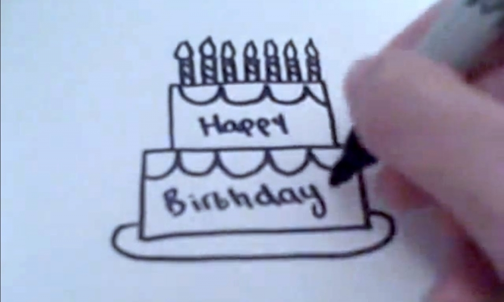1024x614 How To Draw A Cartoon Birthday Cake Youtube Within How To Make