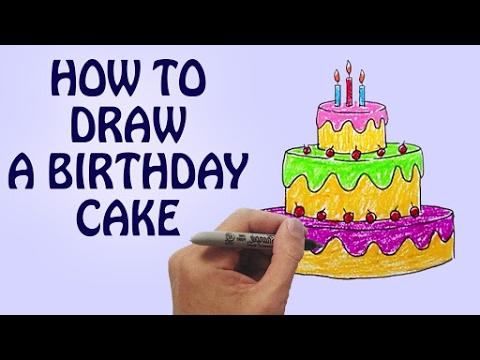 480x360 How To Draw A Birthday Cake For Kids Step By Step Drawing