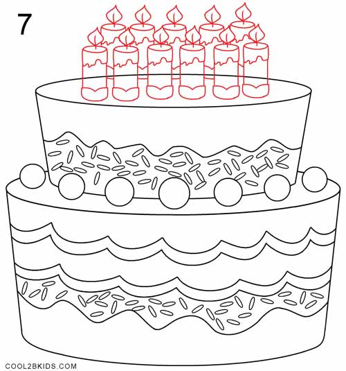 500x535 How To Draw A Birthday Cake (Step By Step Pictures) Cool2bkids