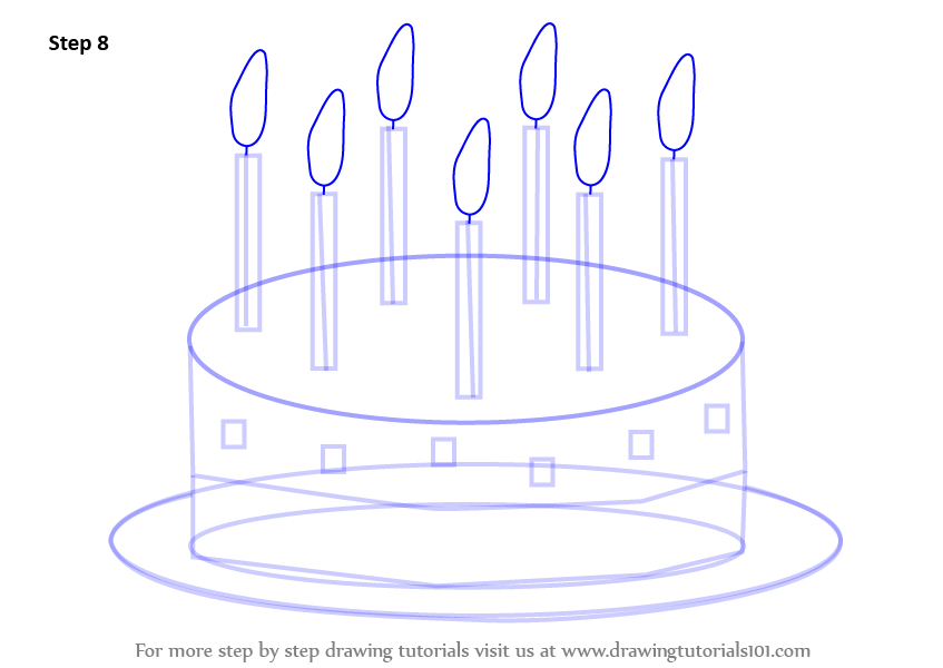 847x600 Learn How To Draw Birthday Cake For Kids (Cakes) Step By Step
