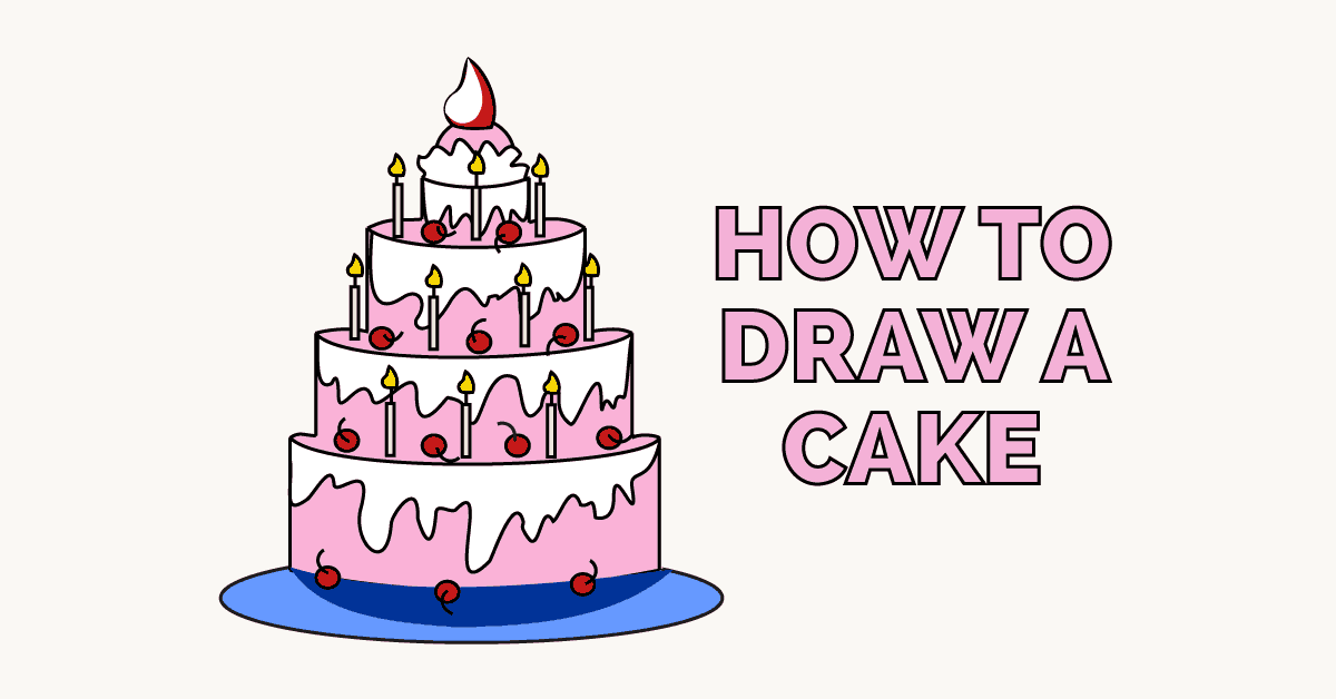 1200x628 How To Draw A Cake Easy Drawing Guides