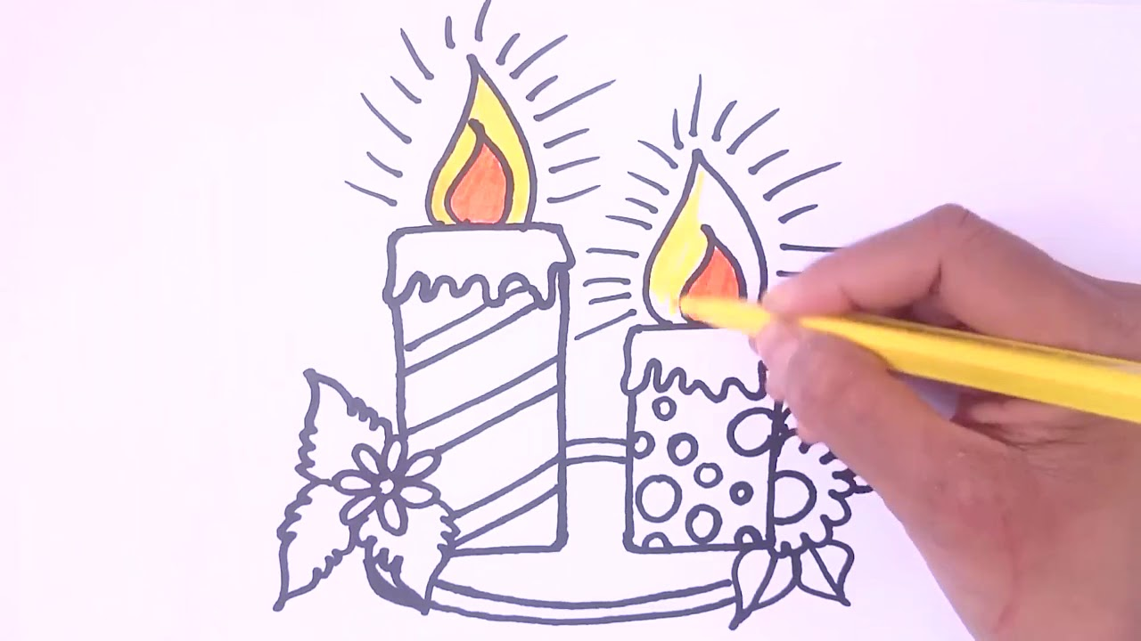 1280x720 How To Draw Birthday Candle Coloring Pages Step By Step For Kids