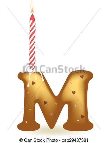 355x470 Letter M Birthday Candle In Cake Form. Vector