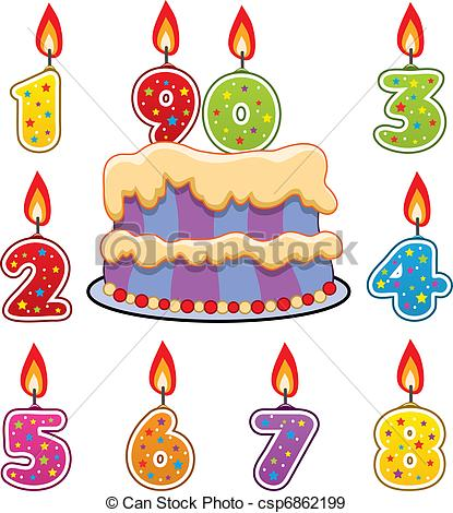415x470 Vector Birthday Candles And Cake Eps Vectors