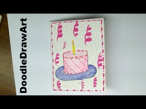 480x360 Drawing How To Make A Birthday Card With A Cake On It! Easy!