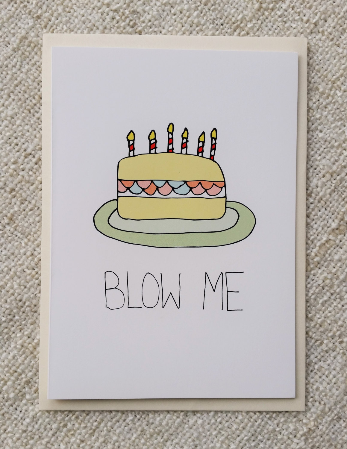 1159x1500 Funny Rude Hand Drawn Birthday Card Blow Me Cake