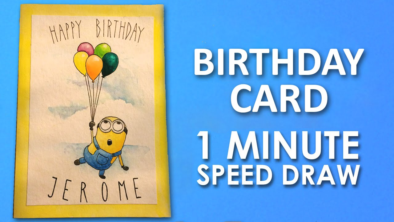 1280x720 How To Draw Minion Birthday Card Step By Step Learning Video