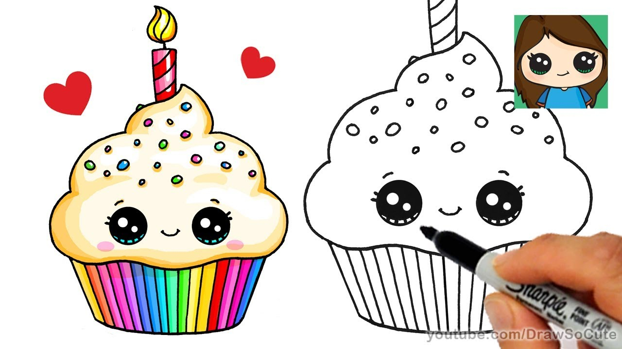 1280x720 Cute Birthday Drawings How To Draw A Birthday Cupcake Easy