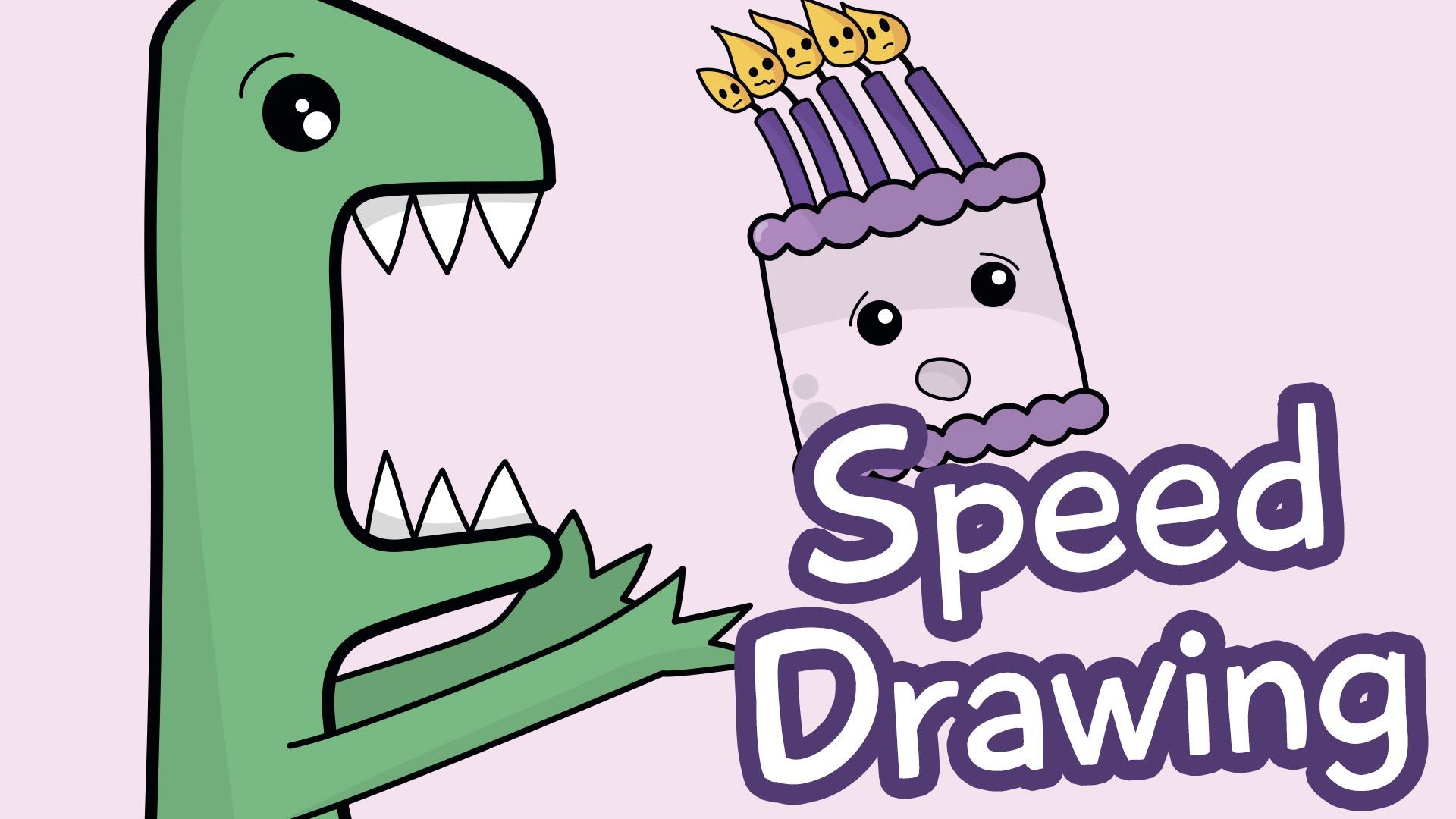 1920x1080 Speed Drawing How To Draw A Dinosaur Cute Birthday Card!