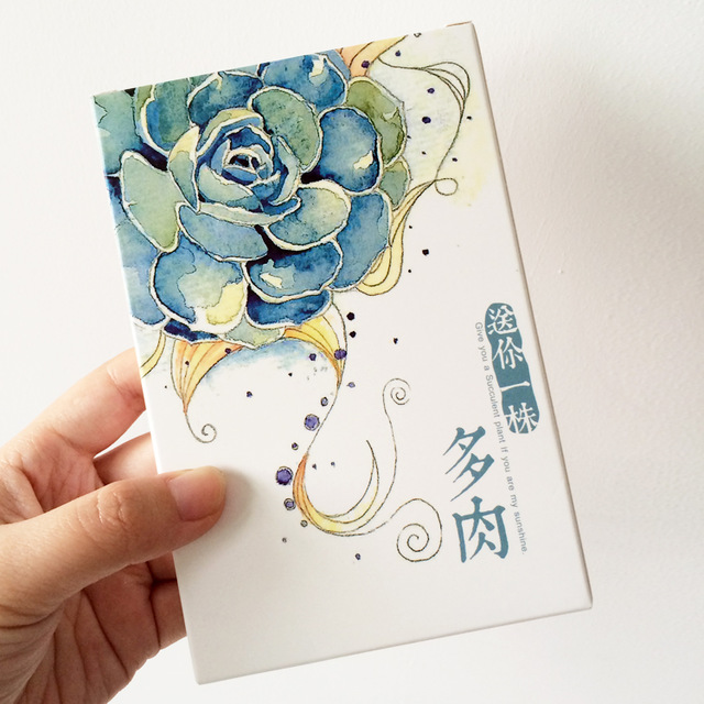 640x640 30 Pcspack Hand Drawing Watercolor Succulent Plants Greeting Card