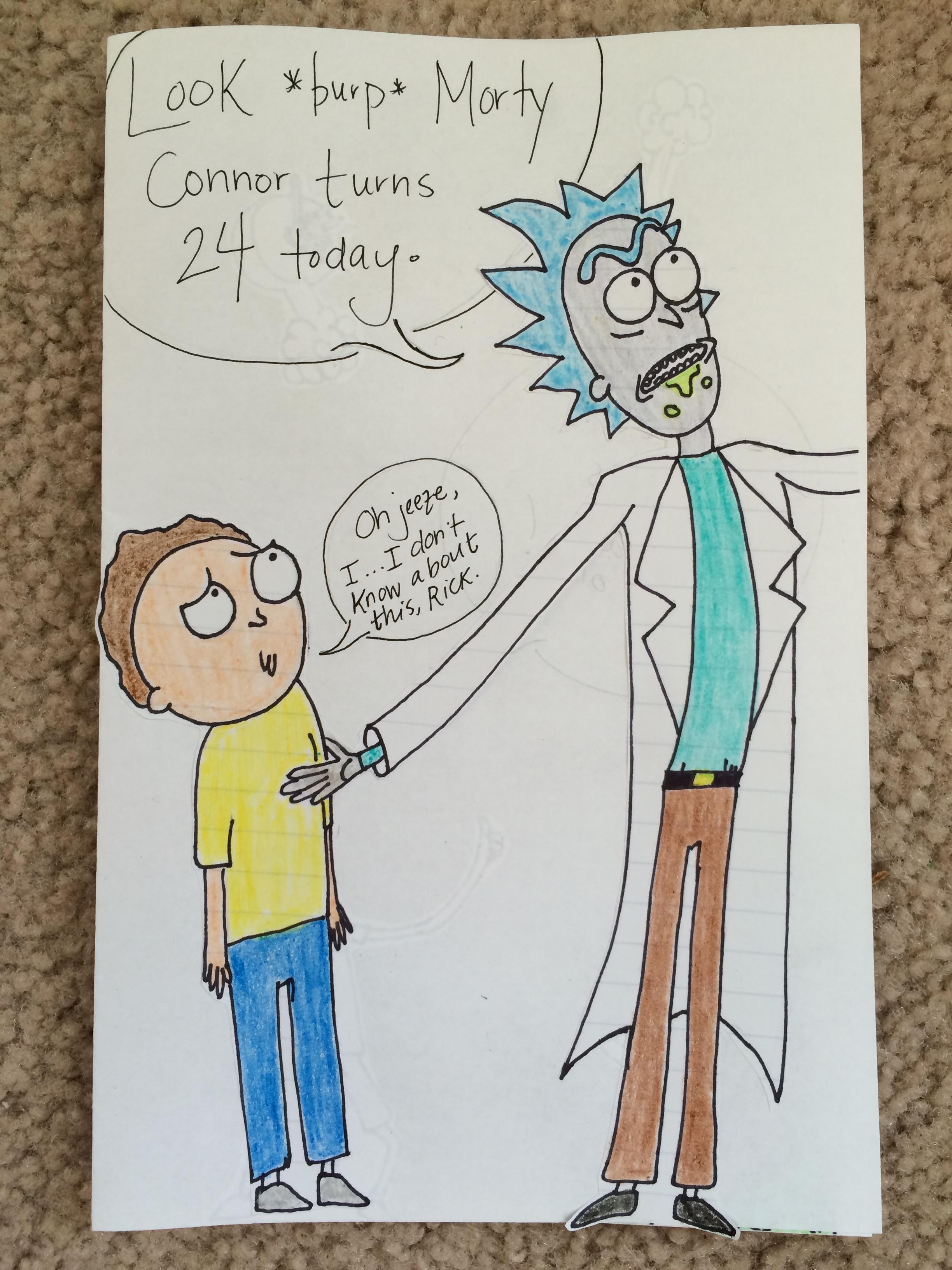 2448x3264 I Made My Boyfriend A Hand Drawn Ricktastic Birthday Card This