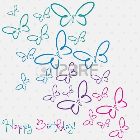 450x450 Multi Colored Hand Drawn Happy Birthday Butterfly Card In Vector