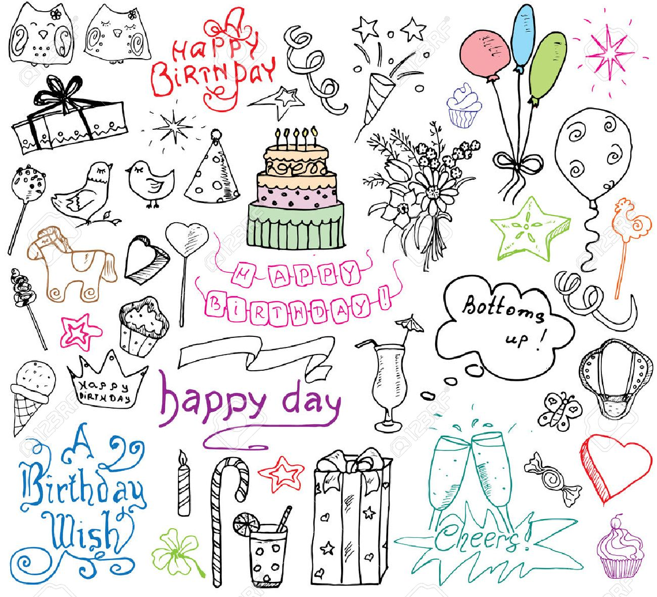 1300x1182 Birthday Elements. Hand Drawn Set With Birthday Cake, Balloons
