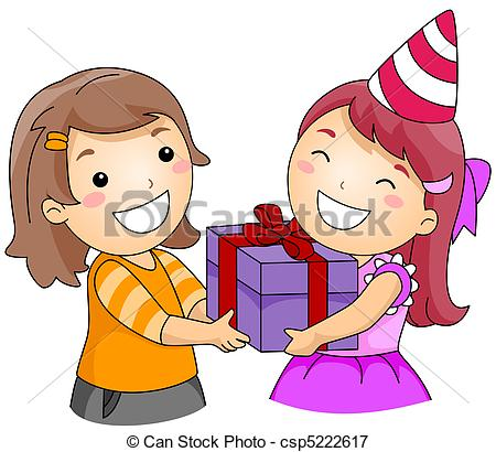 450x410 Birthday Gift. Illustration Of A Girl Giving A Gift To Stock