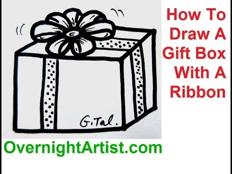 480x360 How To Draw A Gift Box With A Ribbon