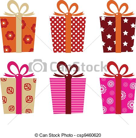 450x457 Retro Gifts Set Isolated On White. Set Of Patterned Gift Vector