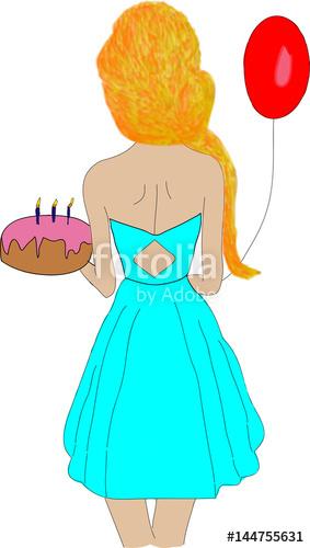 283x500 Birthday Girl. The Girl Celebrates Her Birthday. Vector Drawing