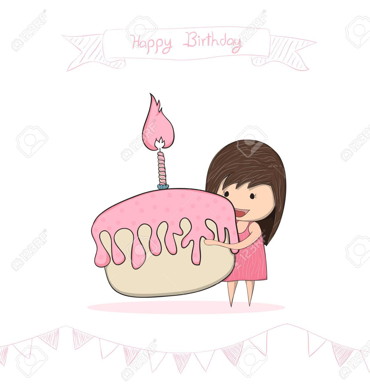 1238x1300 Girl With Birthday Cupcake, Drawing By Hand Vector Royalty Free