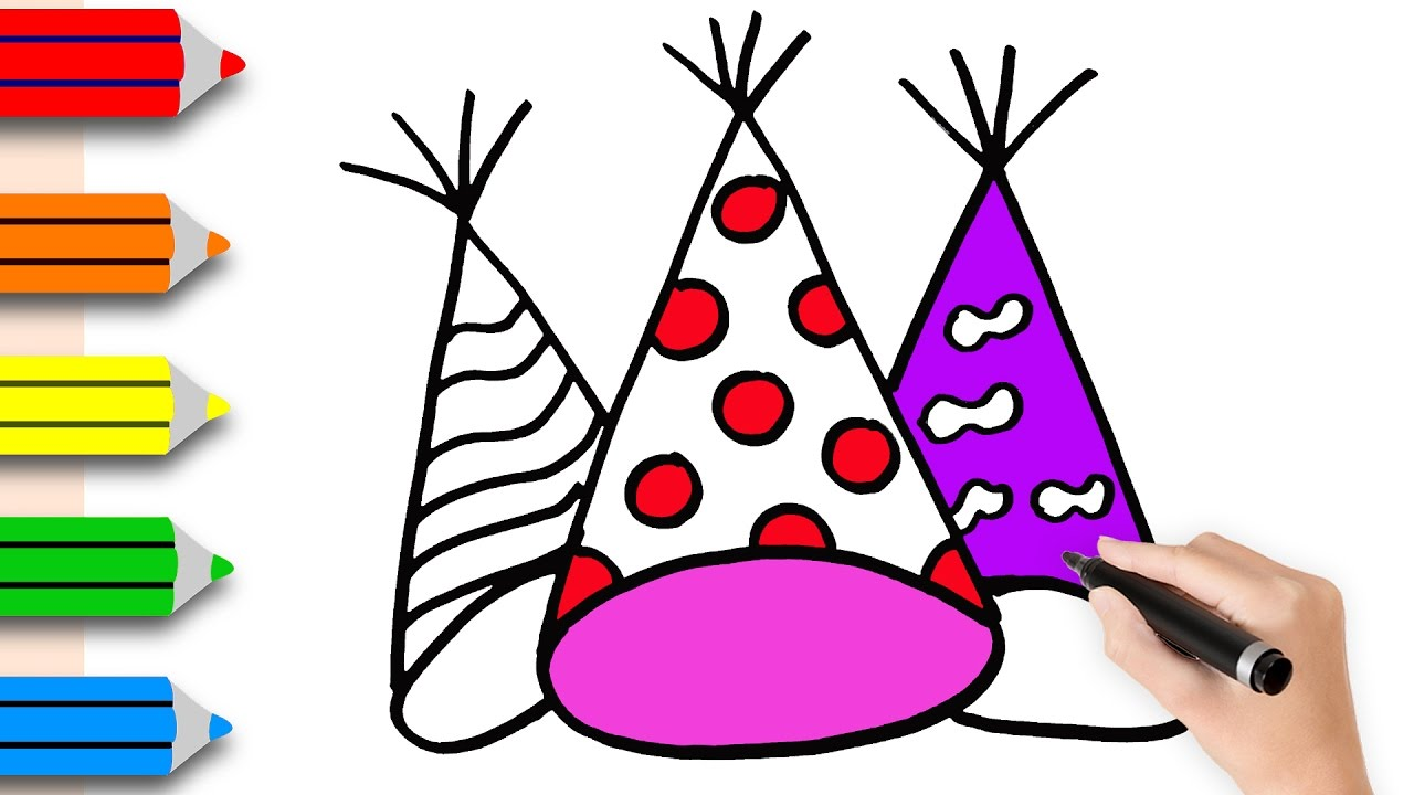 1280x720 Coloring Pages Birthday Hat