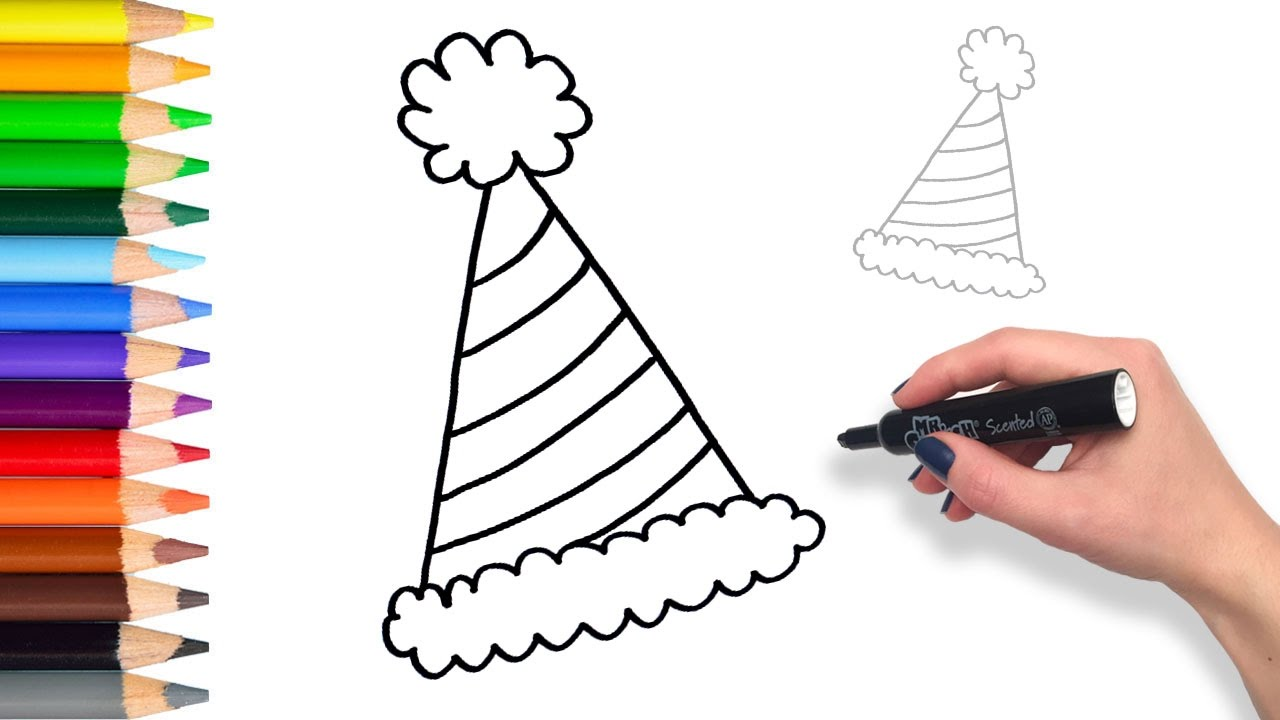 1280x720 Learn How To Draw Party Hat Teach Drawing For Kids And Toddlers