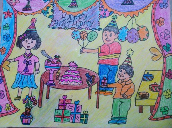 600x446 Birthday Party Crayon Drawings Crayon Drawings