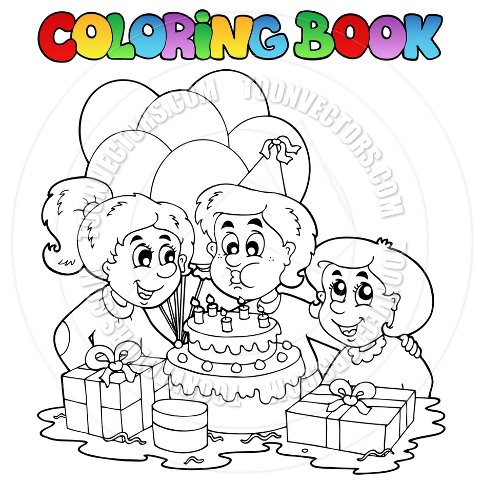 940x940 Cartoon Coloring Book Birthday Party By Clairev Toon Vectors Eps