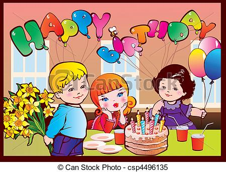 450x343 Happy Birthday Party. Good Childhood. Vector Clipart Vector