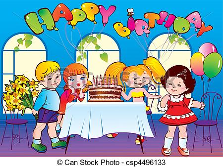 450x338 Happy Birthday Party. Good Childhood. Vector Vectors