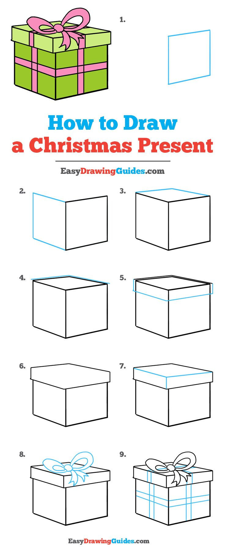 736x1807 How To Draw A Christmas Present