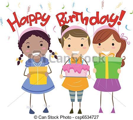 450x404 Illustration Of Kids Holding Birthday Presents Vectors